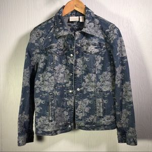 Chico's floral Jean jacket size 1